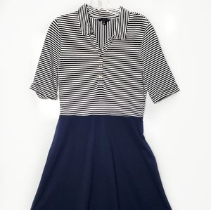 Lands' End Navy and White Stripe Dress